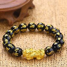 """New Craft Pure 24k Yellow Gold Great Bless Pixiu Motto Agate Beads Bracelet 6.7"""""""