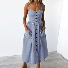 Hot Women Holiday Strappy Button Pocket Ladies Summer Beach Midi Swing Sun Dress