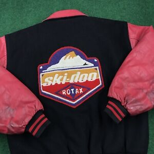 VTG 90S Ski-Doo Rotax Racing Snowmobile Bomber Varsity Leather Jacket Mens M