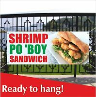 SHRIMP PO BOY SANDWICH Banner Vinyl / Mesh Banner Sign Flag Many Sizes Seafood