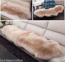 Double Pelt Sheepskin rug Light brown Lambskin rug 6' x 2'Two Pelts rug US stock