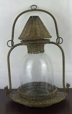 Vintage Candle Lantern Metal Holder With Woven And Glass Decor 16� Height
