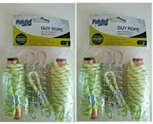 4x POLYTUF GUY ROPE With ALUMINIUM RUNNERS & TRACE SPRING-Glow in Dark 6mm x 3m