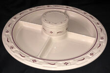 Longaberger Pottery Woven Traditions Divided Relish Plate Serving Tray Red