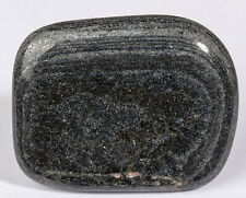 SPECULAR HEMATITE Magnetic Natural polished palm stone 1.23 oz #6379P - UKRAINE