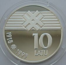 Latvia 10 Latu 1993 Declaration of Independence Silver Proof Coin