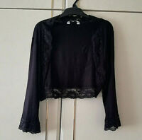 NEW LOOK WOMENS BLACK SHORT BOLERO LACE TOP SIZE 14 SHORT SLEEVE LENGTH 15 INCH