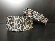 S/M Leather Dog Collar LINED Greyhound Lurcher Whippet Saluki GREY LEOPARD PRINT