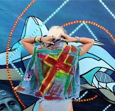 Custom Painted Cross Distressed Levis Jacket M/L One of Kind! LA Artist
