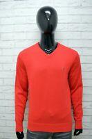Tommy Hilfiger Uomo L Maglione Rosso Felpa Sweater Man Cardigan Pullover Cotone