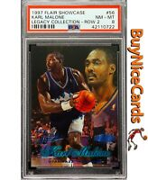 1997 Karl Malone Flair Showcase Legacy Collection Row 2 /100 PSA 8 -Only 1 Above