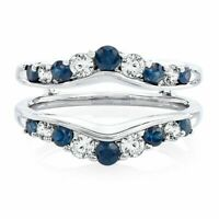 Solitaire Enhancer White Diamond Ring & Sapphire Guard Wrap 14k White Gold FN