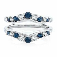 Solitaire Enhancer White Diamond Ring & Sapphire Guard Wrap 14k White Gold FN