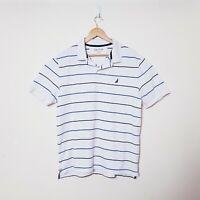Nautica Mens XL Classic Fit White Navy Blue Striped Short Sleeve Polo Deck Shirt