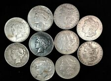 Lot of 10, Five Morgan Silver Dollars, Five Peace Silver Dollars, with damage