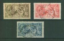 GB~1918 Set of 3 Seahorses~SG413a-417~Very Fine Used, cat £385