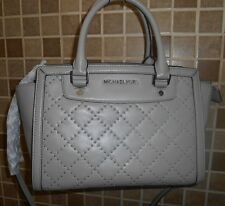 """NWT MICHAEL KORS PEARL GRAY """"SELMA"""" MED MICRO STUD QUILTED BEAUTIFUL!!"""