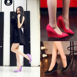 Women Sweet Candy High Wedge Heel Pointy Toe Slip On Pumps Velvet Spring Shoes n
