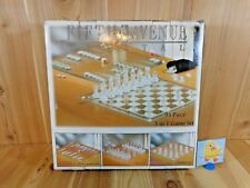 Fifth Avenue CRYSTAL 95 Pc 3 in 1 Game Set CHESS CHECKERS BACKGAMMON Complete