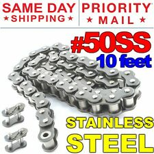 #50SS Stainless Steel Roller Chain x 10 feet + 2 Free Connecting Links