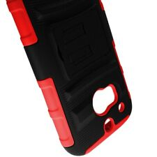 For HTC One (M8) Stand Red Black Hard Soft Case + Belt Clip Holster Cover