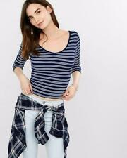 EXPRESS Small ONE ELEVEN NAVY BLUE WHITE STRIPED DOUBLE SCOOP TEE Shirt top