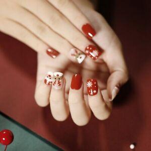 Full Glitter Elk Snowman Short Press On Nails Red Christmas Series False Nails