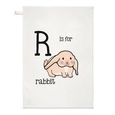 LETTRES R est pour lapin TORCHON CHIFFON DE VAISSELLE - Alphabet Mignon