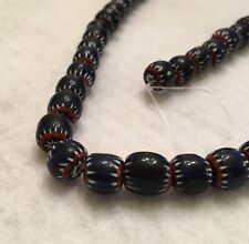 "15.5"" Small Round Colbalt Blue Chevron Glass Bead Strand."