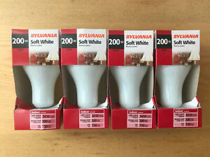 Lot of 4 New Sylvania 200w Soft White Bulbs - 3650 Lumens Light Output