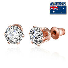 18K Rose Gold Filled Classic 6MM Zircon Lab Diamond Cutting Stud Earrings E054