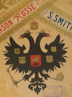 RARE Litho PARTITION MUSIQUE CHANSON RUSSE BLASON ARMOIRIES RUSSIA ROMANOV 1880