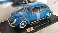 MAISTO 1:18 Diecast Model Car Special Edition 1955 Volkswagen Kafer Beetle Blue