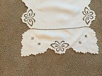 "Vintage Table Runner White Embroidered Linen Cut Work 51"" X  17"""