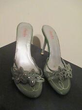 Charles David high heels slides sandals green ombre design silver leave size 9M