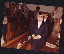 Old Vintage Photograph Little Boys in Church Making First Holy Communion 1982