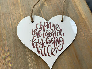 Lovely Shabby Chic Country Hanging Heart Sign