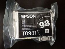 Two (2) Genuine Epson 98 Black ink T0981 T098120 Artisan 835 837 High Capacity