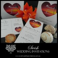 Sunset Heart Beach Engagement Wedding Invitations - Samples Invites ONLY $1