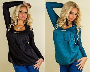 Damen-Top Shirt Ziersteine Petrol-Blau Schwarz Satin Ziersteine 34 36 38 40 NEU