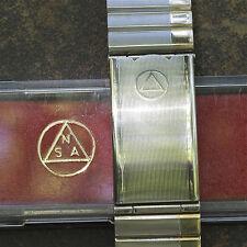 Long NSA vintage watch bracelet satin steel gold accents 18mm 19mm 20mm or 22mm