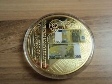 """Münze """"Banknoten Europas"""", 200 Euro-Schein, Cu vergoldet + Silberappl., # 06099"""
