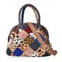Multi Color Block Pattern Leather Hand Woven Tote Bag Handbag Hobo Satchel Bag