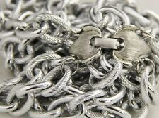 80's 90s VINTAGE Jewelry SILVER METAL DOUBLE CHAIN LINK TEXTURED NECKLACE 23""