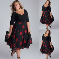 Plus Size Women Sexy V-Neck Floral Maxi Evening Party Boho Beach Prom Dresses UK