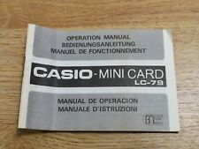 Vintage Casio Mini Card LC - 79  instructions ONLY.