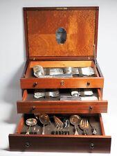 Wilkens Ostfriesen 90er Silber Besteck 12 Pers Besteckschrank Holzschrank 72 tlg
