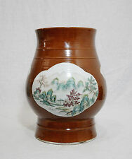 Chinese  Monochrome  Brown  Base  With  Famille  Rose  Porcelain  Vase     M514