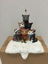 Christmas Stocking Holder Cats Posing Like A Christmas Tree (New)