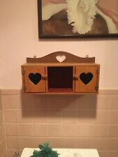 "Heart Wood Wall Hanging Display Curio Cabinet / Shelf 18 1/2"" X 7 1/4""x 5 1/2"""
